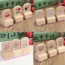 3PCS Lovely Wooden Rubber Stamps Seal Letters Diary Scrapbooking Craft Gifts Art