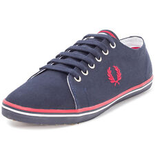 Fred Perry Kingston Twill Unisex Trainers Navy Red New Shoes
