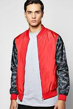 Boohoo Mens Lined Nylon MA1 Bomber Jacket with Camo Sleeves