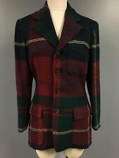 RALPH LAUREN Red Blue Green Wool Plaid Collared Button Up Jacket Sz 8 4376A