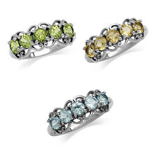 5-Stone Natural Gemstone 925 Sterling Silver Victorian Style Ring