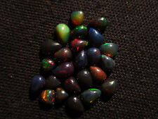 10 Cts Natural Fire Play Welo Ethiopian Black Opal Loose Gemstone Cabochon BOC5