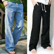Fashion Mens Loose Drawstring Waist Solid Linen Trousers Casual Beach Pants   57