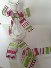 GLITTER CANDY Lime Green & Pink Stripe sheer organza - Luxury Wire Edged Ribbon