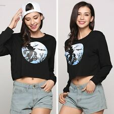 Fashion Womens Long Sleeve Mouse Printed Contrast Color Pullover Crop Top shirt