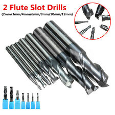 2/3/4/6/8/10/12mm TiAlN Coated Solid Carbide 2-Flute End Mill Cutter Slot Drill@