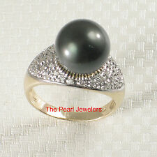 14k Yellow Gold Diamonds Genuine Black Tahitian Pearl Cocktail Traditional Ring
