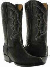 Mens real stingray skin full row stone leather cowboy boots exotic crocodile