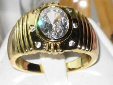 MENS signet SOLITARE STUDDED 3CT SIMULATED DIAMOND 18KT YELLOW GOLD RING M211