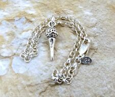 Sterling Silver Golf Ball on Tee Charm on a Sterling Silver Rolo Bracelet - 0738