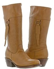 Womens Smooth Light Brown Leather Fashion Western Cowboy Cowgirl Boots Rodeo