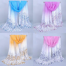Women Girls Chiffon Leopard Soft Long Neck Scarf Shawl Scarves Stole Wraps NEW H
