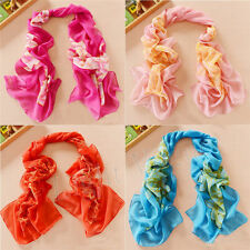 Women Girl Chiffon Peony FLoral Long Soft Neck Scarf Shawl Scarves Stole Wraps X