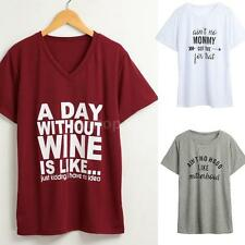 Summer Women Short Sleeve O Neck Letter Printed T Shirt Casual Top Blouses O7K8