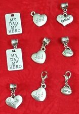 ANTIQUE SILVER DAD - FATHER CHARM - HEART - LOVE - HERO - FAMILY - U CHOOSE