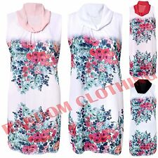 ITALIAN Womens Cowl Neck Sleeveless Slip Underneath Chiffon Floral Tunic Dress