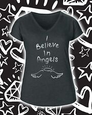 I Believe In Angels T Shirt Ladies V Neck Silver Print Various Colours Sizes