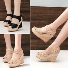 Women Ladies Wedges Lace High Heel Solid Open Toe Shoes Party Platforms Sandals