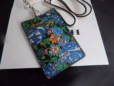 NWT COACH SIGNATURE FLORAL LANYARD ID BADGE HOLDER CASE-Blue #f57990