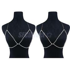 Pretty Shiny Crystal Faux Pearls Bra Chest Body Chain Harness Necklace Jewelry