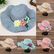 Fashion Women Summer Wide Brim Beach Sun Hat Elegant Flower Boho Cap