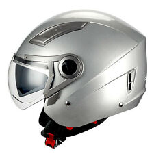 1STORM MOTORCYCLE OPEN FACE HELMET 3/4 SCOOTER BIKE DUA​L LENS GLOSSY SILVER DOT