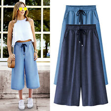 Women' s Plus Size Trousers Casual Loose Laceup Cropped trousers Wide Leg Pants