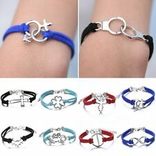 Handmade DIY Leather Charms Wrap Wristband Bracelet Bangle Friendship Jewellery