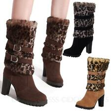 Vintage Womens Animal Pump NEW Buckle Leopard Mid Calf Heel Boots Shoes sz 4
