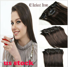 US STOCK 7 pcs set Clip in Human Hair Extension Brazilian Straight Hair #2 Brown