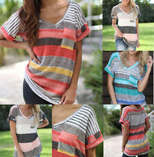 Plus Size Womens Striped V Neck Pockets Short Sleeve T-shirt Loose Casual Blouse