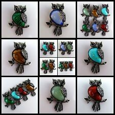 Delightful Mixed Gemstone Carved Owl Pendant Bead 48x34x9mm BMTYDX
