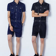 Fashion Men Casual Jumpsuits Short Sleeve Short Pant Rompers Slim Straight