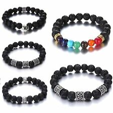 Womens Mens Retro Silver Skull 7 Chakra Lava Stone Buddha Beaded Bangle Bracelet