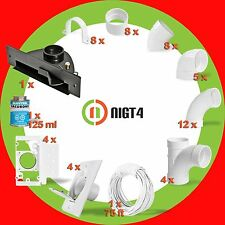 Central Vacuum White 4-Inlet Installation Kit and Black Easy to cut -install!!!!