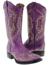Womens Purple Studded and Stitched Leather Western Cowboy Boots Square Toe