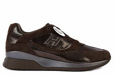 HOGAN WOMEN'S SHOES SUEDE TRAINERS SNEAKERS NEW ELECTIVE BROWN F79