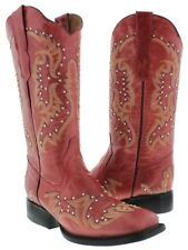 Womens Red Studded and Stitched Leather Western Cowboy Boots Square Toe