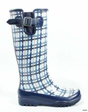 new SPERRY Top-Sider 'Pelican' navy blue plaid fleece-lined SNOW RAIN BOOTS 5