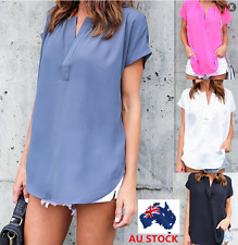 Women V-Neck Blouse Chiffon Short Sleeve Ladies T Shirt Casual Loose Shirt Tops