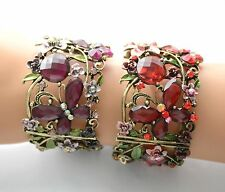 Butterfly & Floral Victorian Look Cuff Bracelet w Crystals / Antique Gold-tone