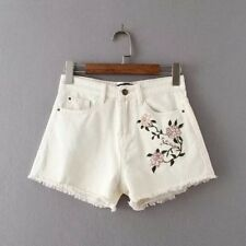 New Womens Summer Embroidered Floral White Denim Waist Short Pants Shorts