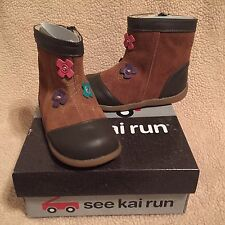 See Kai Run Perfidia Camel Toddler Girls Boots size 7 NEW Box Flowers $55 NWB
