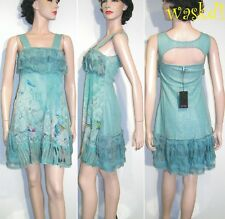 SAVE THE QUEEN delicate AQUA silk Chiffon LACE detail dress NWT Authentic!