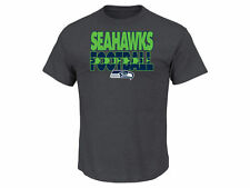 SEATTLE SEAHAWKS NFL 2-SIDED LOGOS CHARCOAL GRAY CLUTCH T-SHIRT BY MAJESTIC NWT