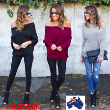 Women Long Sleeve Kintting Sweater Batwing Sleeve Loose Jumper Pullover Tops