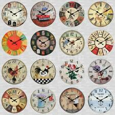 Wooden Home Wall Clock European Style Round Colorful Vintage Rustic 24 Types