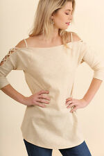 UMGEE Strappy Off Shoulder Shirt Top Loose Boho Flowy Casual Knit Tunic Blouse
