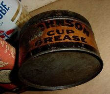 RARE NOS FULL 1920s Vintage JOHNSON OIL 1lb CUP GREASE Old Tin Oil Can