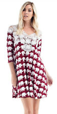 Boutique Womens Burgundy Crocheted V Neck Chic Flowy Elephant Print Dress S M L
